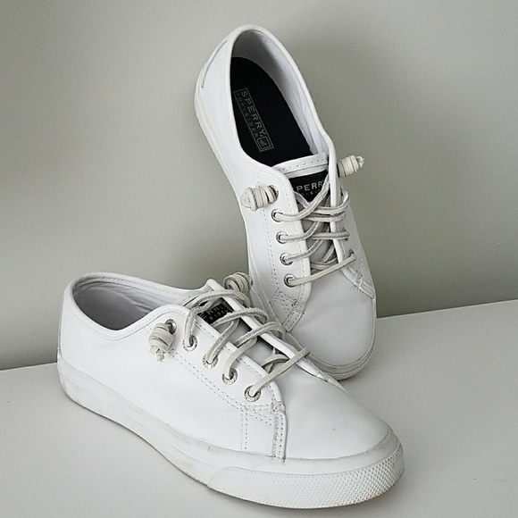 sperry white leather shoes